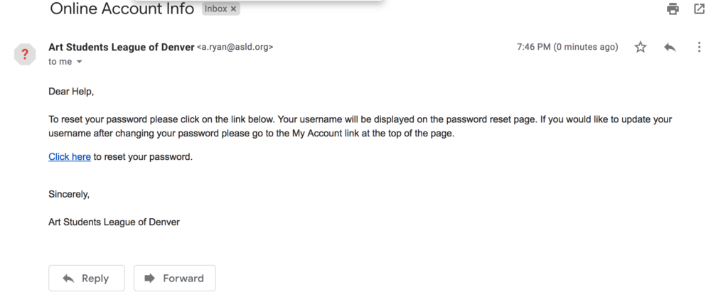 Reset Password- check Email