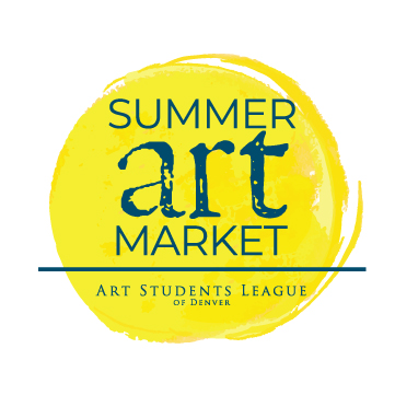 """SAM logo: a painterly yellow circle with dark blue text that reads """"Summer Art Market"""" and a dark blue version of the ASLD logo"""